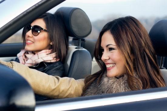 Girls Driving A Car