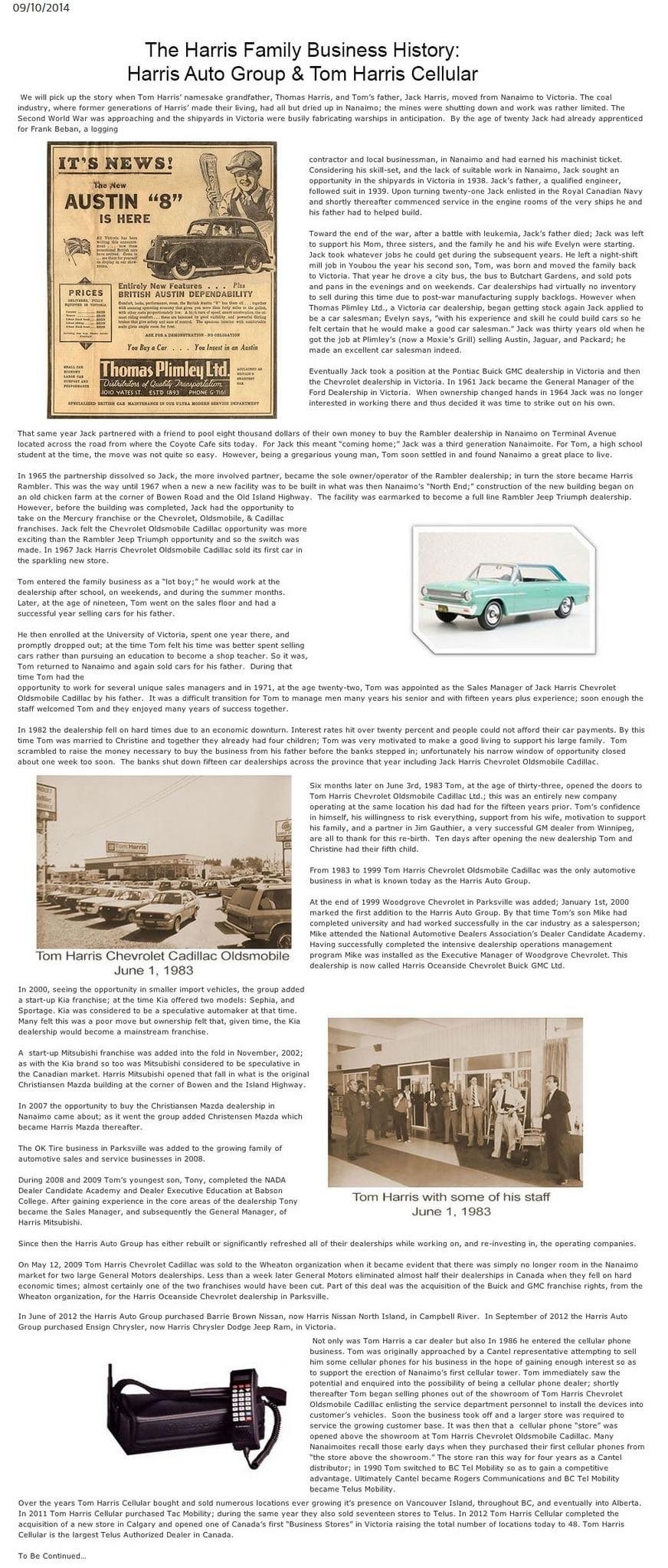 Tom Harris News Article
